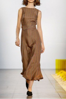 Del Rey Sleeveless Striped Midi Dress in Camel