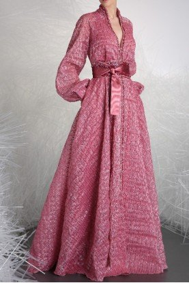 Rose Pink Long Sleeve A Line Gown