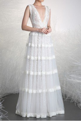 White Sleeveless Evening Gown Bridal Dress