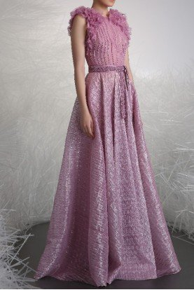 Ruffled Sleeveless Gown in Lilac Pink