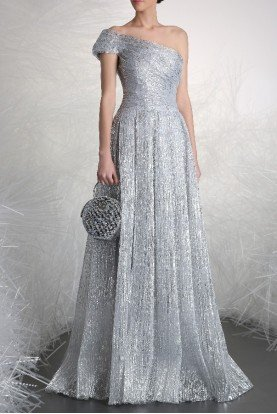 Silver One Shoulder Evening Gown