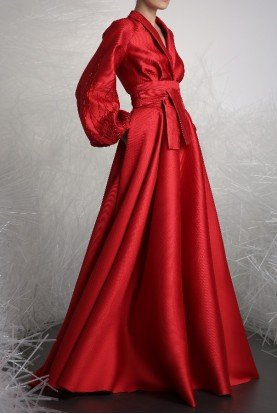 Red Long Sleeve Evening Gown