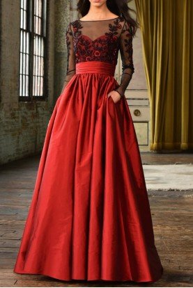 Red and Black Long Sleeve Evening Gown w Pockets