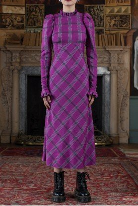 Isobel Check Dress in Violet