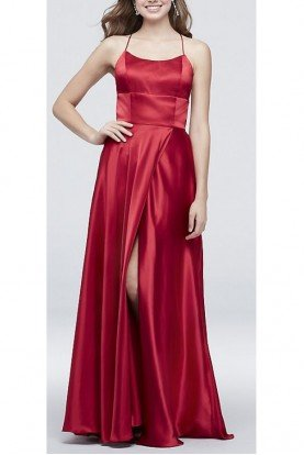 Red  Open Back Gown A21436