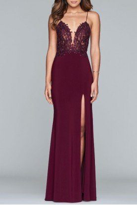 Faviana Navy Lace V Neck Gown S10275