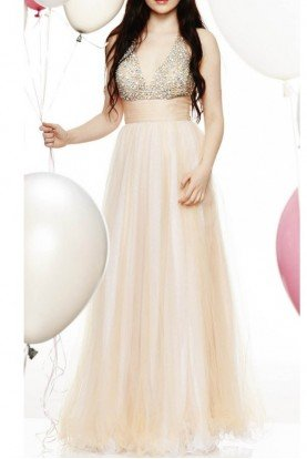 Tiffany Designs Champagne Beaded V Neck Gown w Sparkle Top 16030