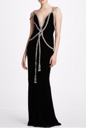 Embellished Velvet Black Sleeveless Gown M27811