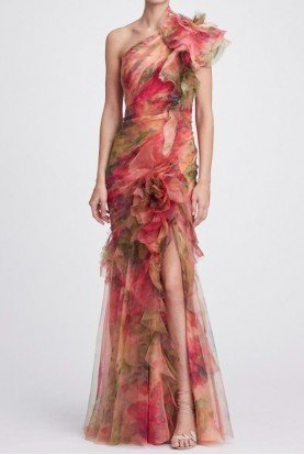 One Shoulder Printed Silk Organza Evening Gown