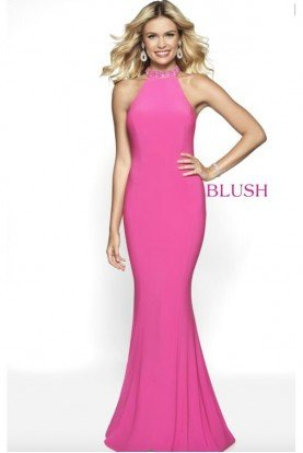 Crepe Halter Mermaid Jeweled Neckline Hot Pink