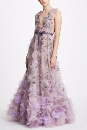 Plunging V Neck Floral Tulle Gown in Lavender