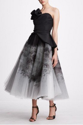 Marchesa Ombre Strapless Organza Midi Skirt and Top M27403