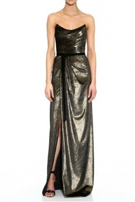 Strapless Foiled Gold Velvet Gown N35G1107