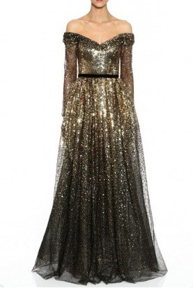 Off Shoulder Degrade Sequin Gown