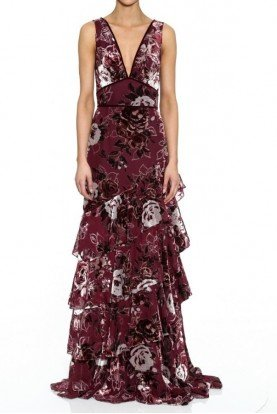 Wine Red Sleeveless Tiered Evening Gown