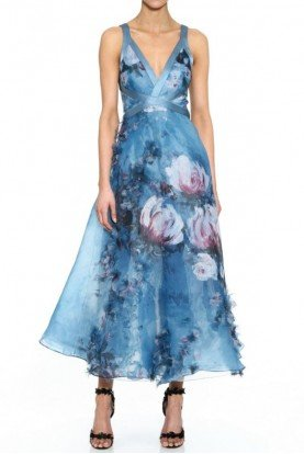 Light Blue Sleeveless Printed Organza Midi Dress