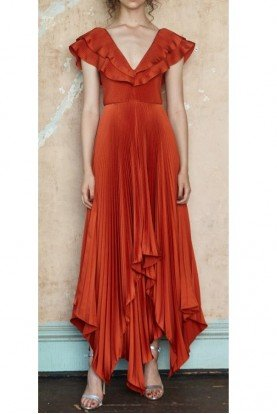 Red Pleated Tampico Gown
