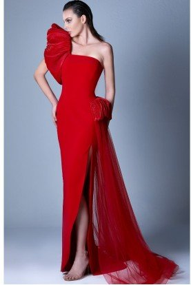 Red One Shoulder Asymmetrical Ruffled Gown