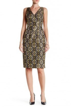 Adrianna Papell Jacquard Sheath Gold Black Cocktail Dress