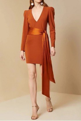 Sachin   Babi Long Sleeve Orange Amina Dress