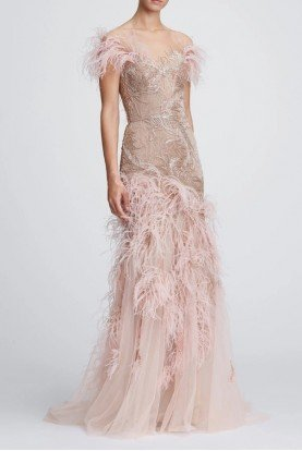 Blush Tulle Off Shoulder Feathered Gown