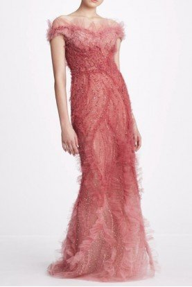 M26819 Rose Off Shoulder Tulle Gown