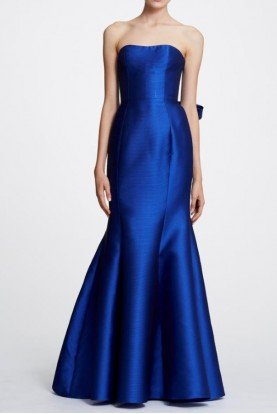 Royal Blue Back Bow Strapless Mikado Evening Gown