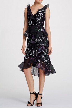 Sleeveless Black Floral Organza Cocktail Dress