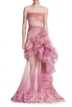 Rose Strapless Silk Organza Gown
