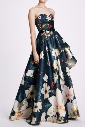 Strapless Teal Floral Ball Gown N34G1019