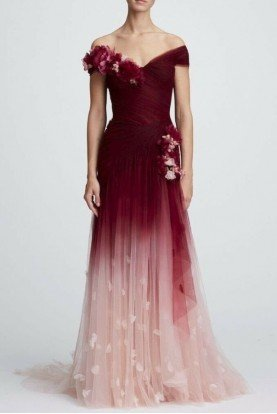 Marchesa Off Shoulder Burgundy Ombre Gown with 3d flowers
