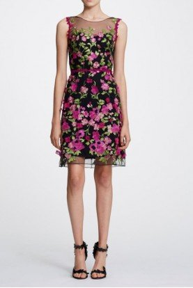 Black Sleeveless Floral Embroidered Cocktail Dress