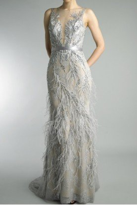 Platinum Embroidered Feathered Evening Gown