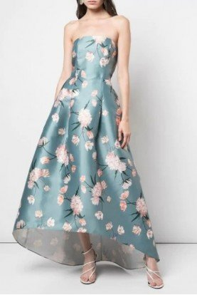Hi Lo Olive Floral Strapless Dress