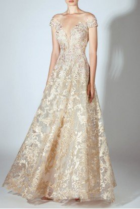 Embroidered Off Shoulder Illusion Gown