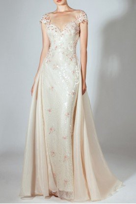 Cap Sleeve Sequin Gown in Champagne Pink