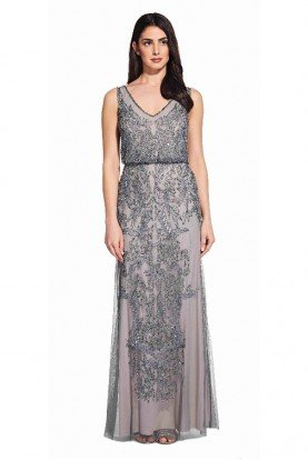 Adrianna Papell Silver Floral Godet Gown Beaded  Dress