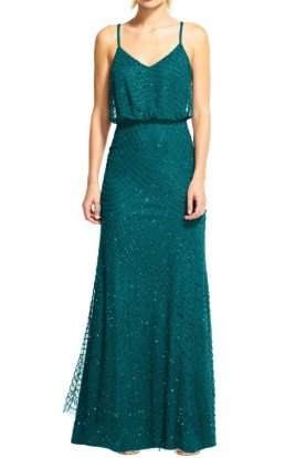 Emerald Green Long Deco Beaded Blouson Gown