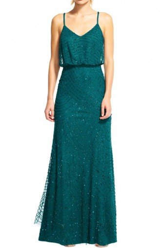 Adrianna Papell Emerald Green Long Deco Beaded Blouson Gown