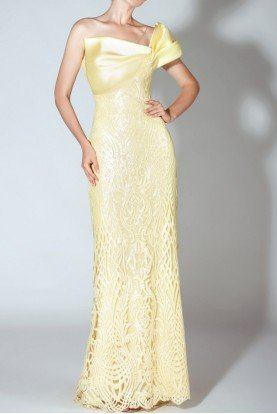 Yellow Strapless Illusion Embroidered Gown