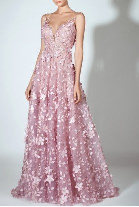 Sleeveless Laser Cut Pink Floral Evening Gown