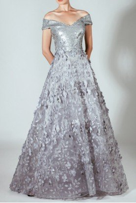 Off the Shoulder Laser Cut Silver Ball Gown