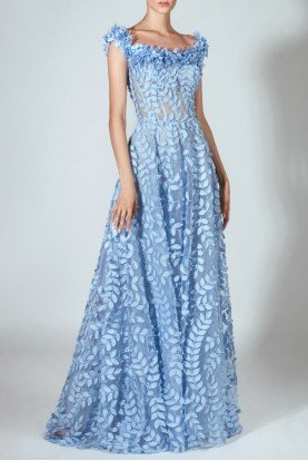 Beside Couture by Gemy Off the Shoulder Laser Cut Blue Gown