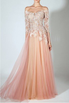 Embroidered Off Shoulder Illusion Evening Gown
