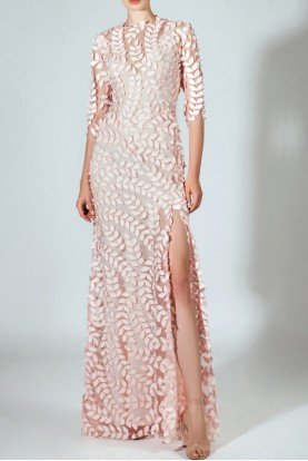 Sleeved Laser Cut Pastel Pink Evening Gown