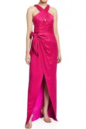 Lennox Pink Jacquard Halter Dress in Magenta