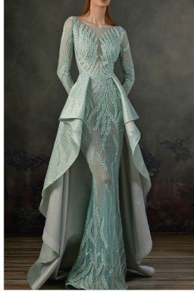 Aqua Mint Long Sleeve Beaded Gown