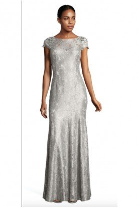 Adrianna Papell  Scalloped Lace  Gown Dress in silver