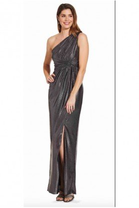 Adrianna Papell One Shoulder Gunmetal Jersey Gown Prom