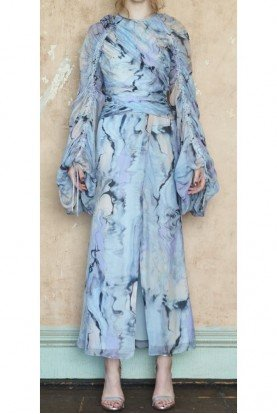 Flor et al Arandas Silk Chiffon Light Blue Full Sleeve Gown